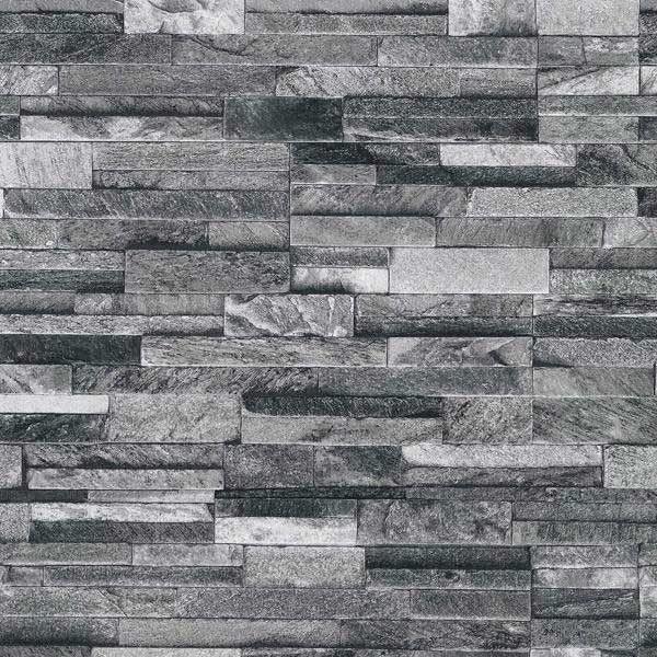 Papel pintado imitaci n pared de piedra gris pdw94210620 - Imitacion a piedra para paredes ...