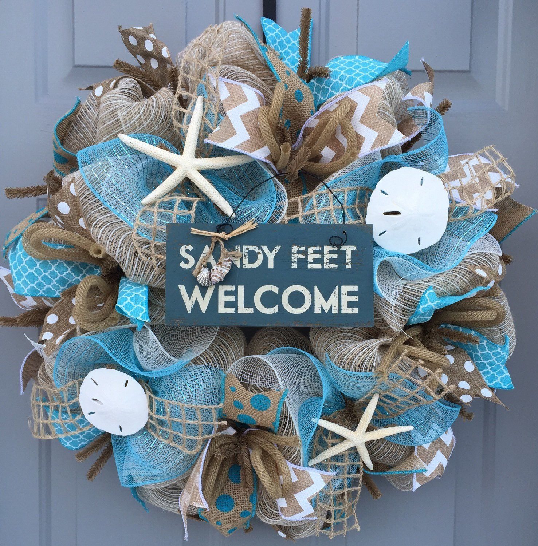 Summer Wreath Welcome Wreath Burlap Deco Mesh Wreath with Seashells Coastal Wreath Starfish Wreath Seashell Wreath Beach Wreath