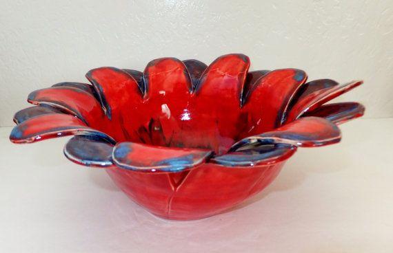 Large Red Decorative Fruit Bowl Serving