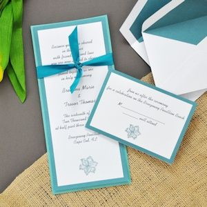 Diy Teal Hibiscus Invitations Kit From Wedding Favors Unlimited