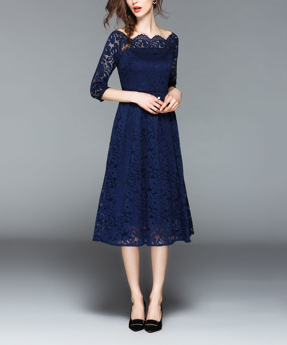 Kaimilan Blue Floral Lace Overlay A Line Dress Women Zulily A Line Dress Midi Dress Party Womens Dresses [ jpg ]
