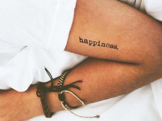 Items similar to Temporary Tattoo Quote Word Font Happiness Text / Realistic Stick on Transfer Fake Tattoo Sticker / Typewriter Valentines Gifts for Her on Etsy
