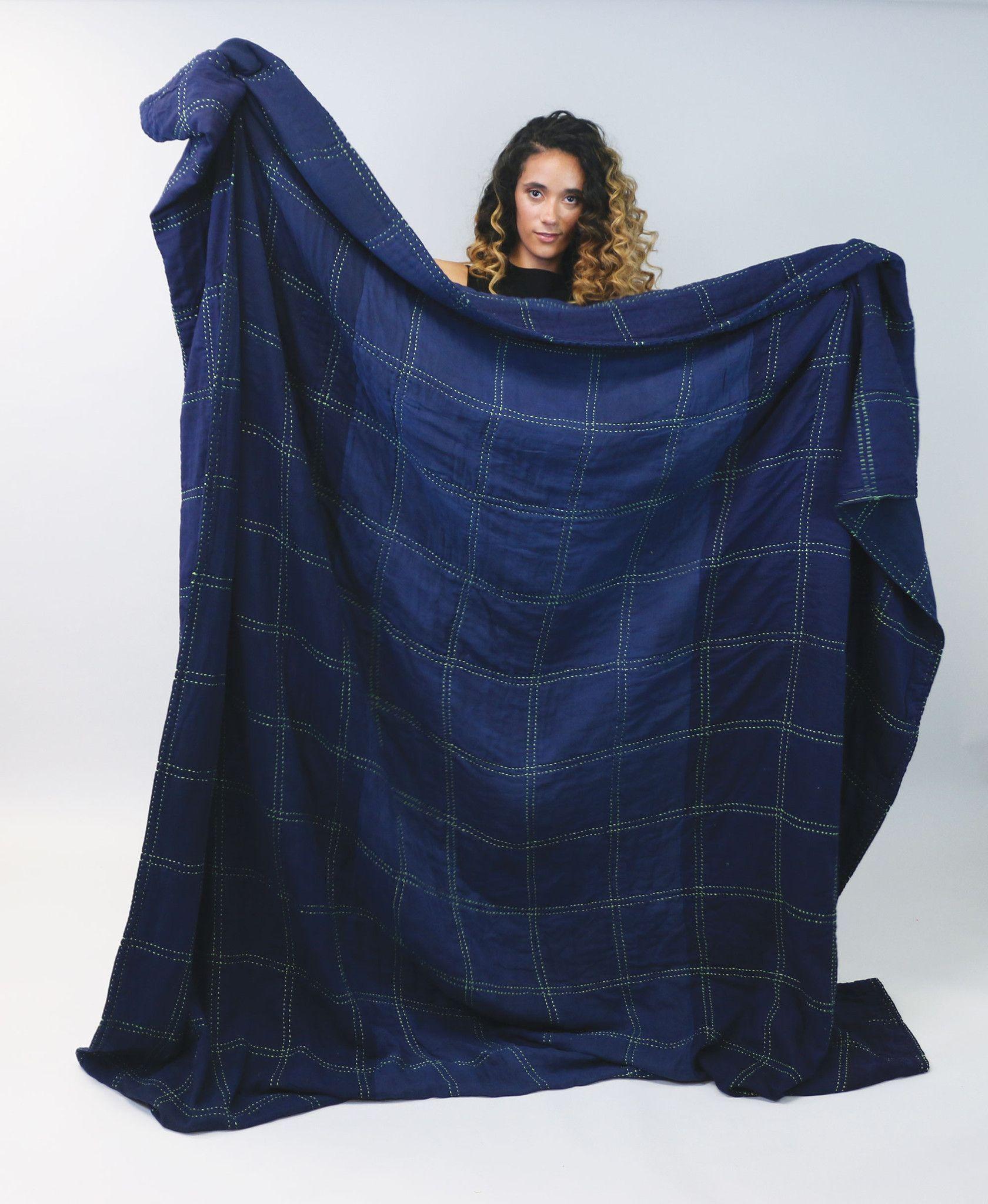 Indigo Grid Queen Quilt