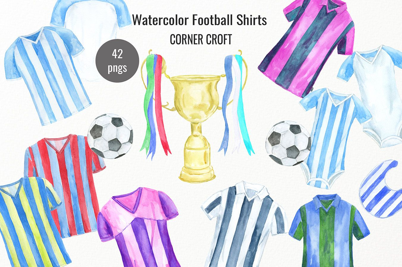 Watercolour Football Shirts Watercolor Football Clipart Football