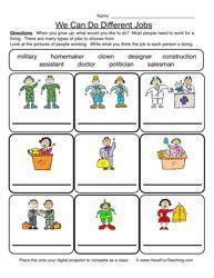 Careers Worksheet 3 | Worksheets, Kindergarten worksheets and ...