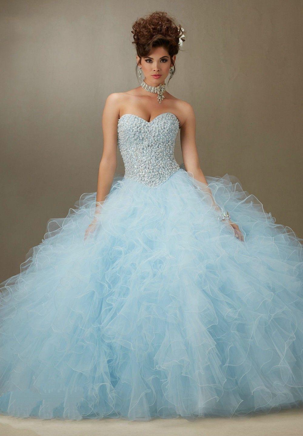 corpete azul claro   Glacê   Pinterest   Quinceanera dresses 2016 ...