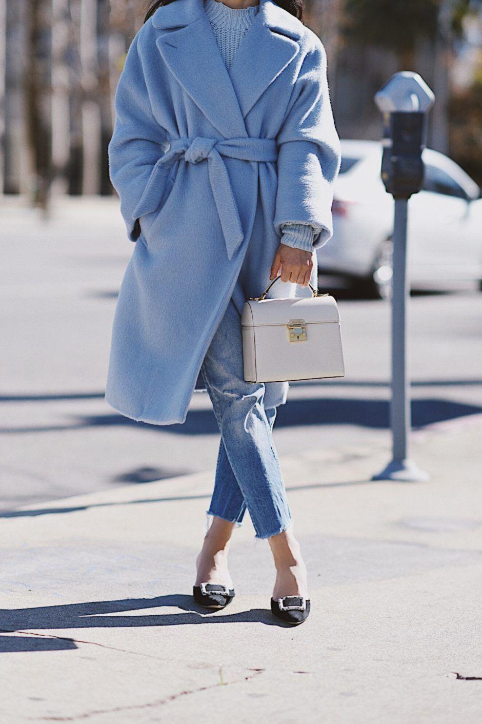 Blue Max Mara Weekend Coat Mark Cross Bag Manolo Blahnikhq Mules Via Halliedaily Blue Coat Outfit Fall Fashion Coats Blue Coats