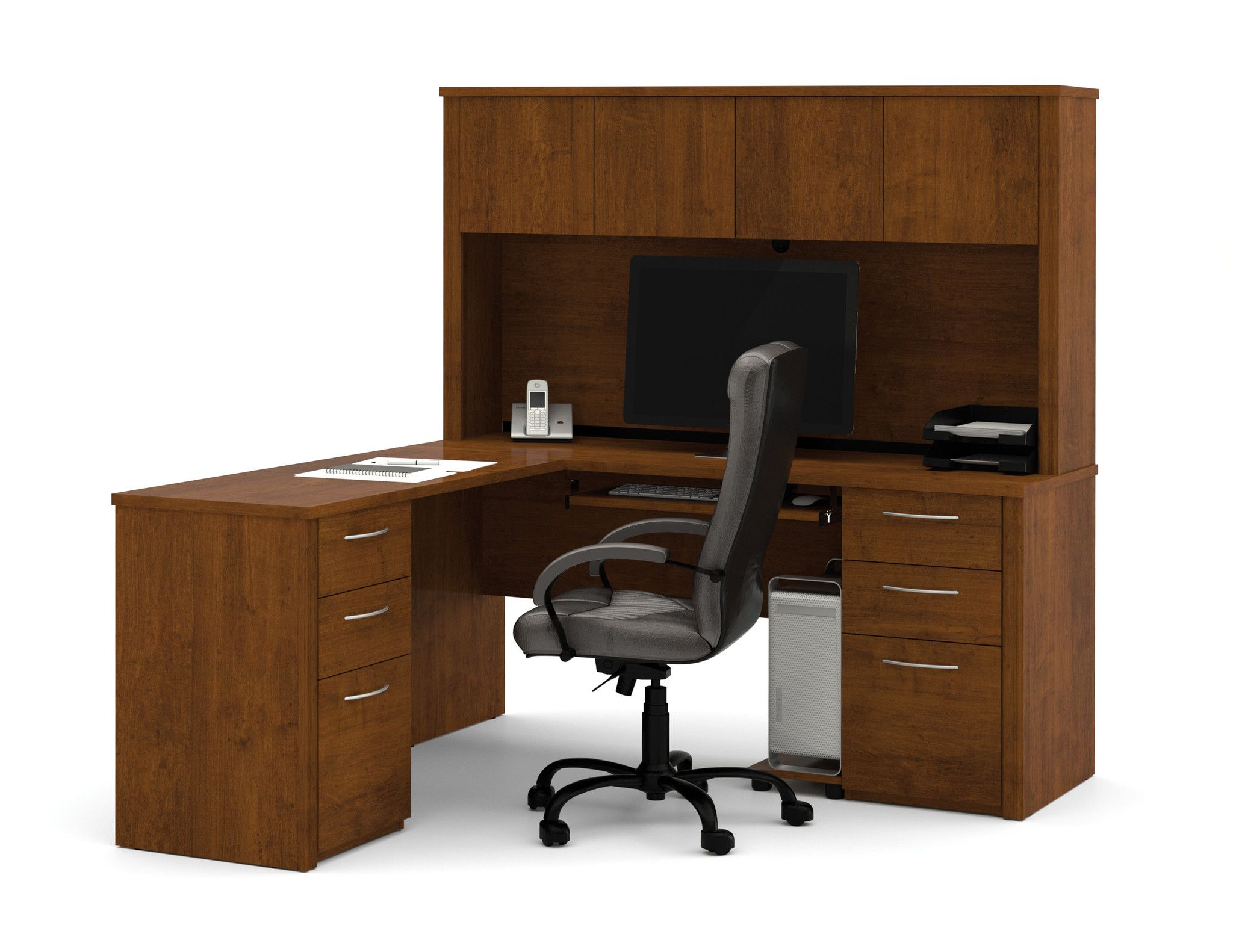 Double pedestal lshaped desk with hutch in cappuccino cherry or