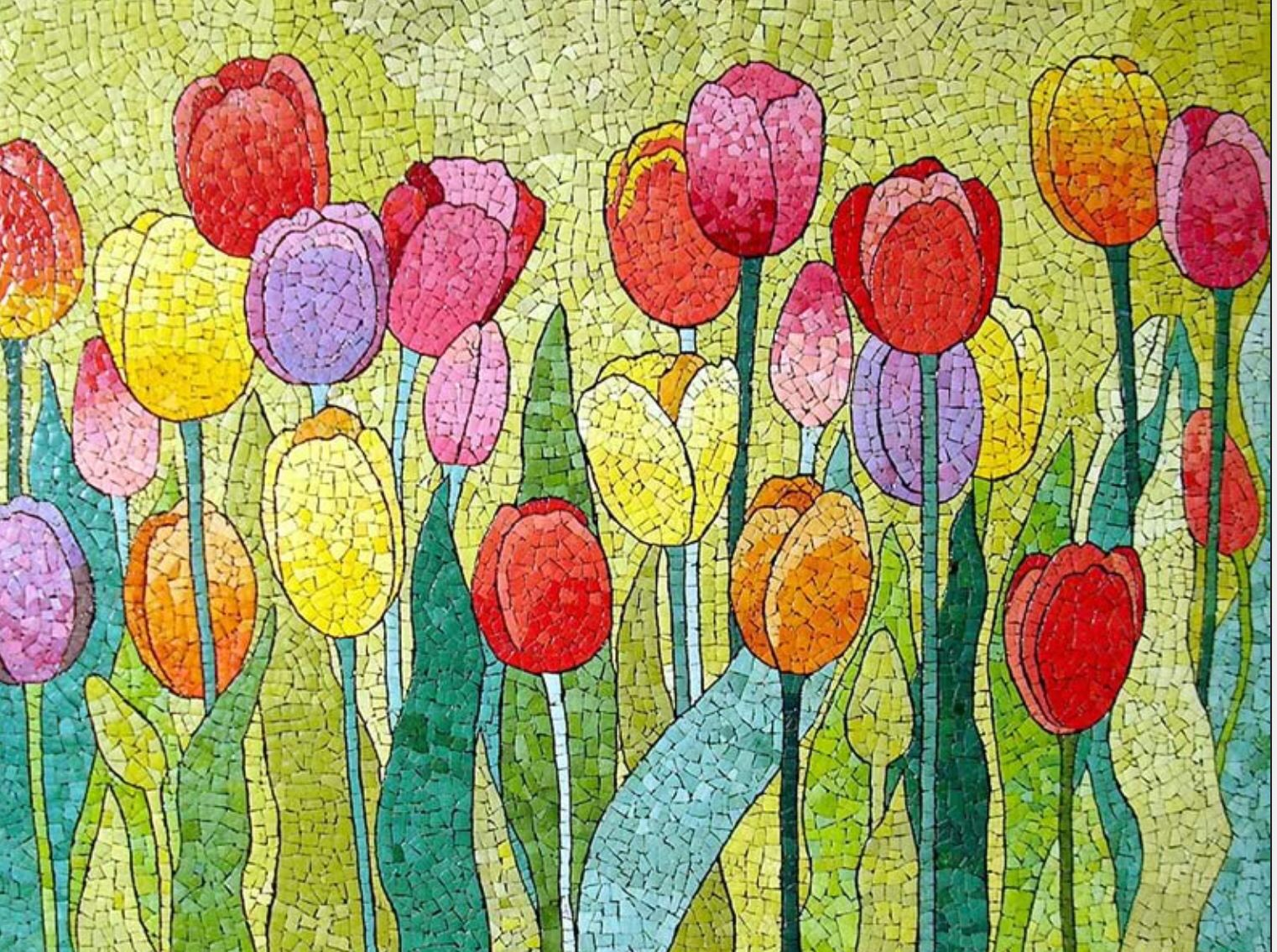 tulipánok | Mosaics 8 | Pinterest | Mosaics, Mosaic flowers and ...