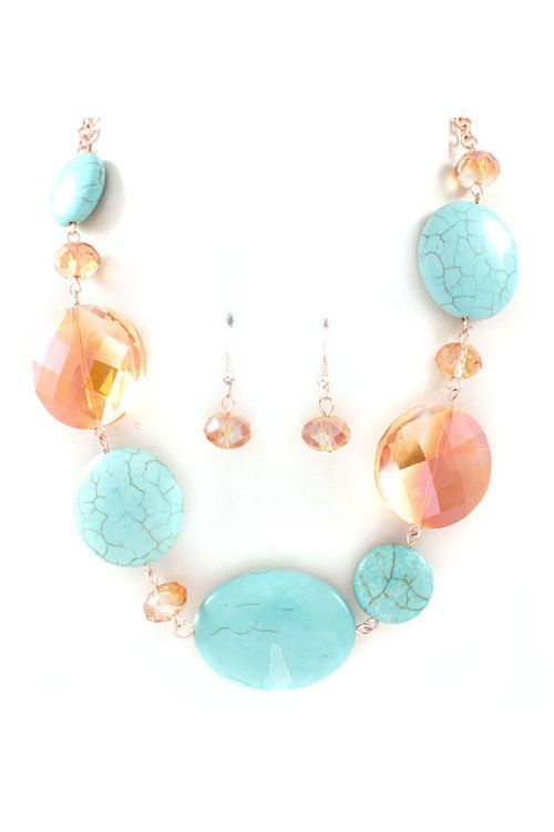 Turquoise & Peach Necklace/with Earrings