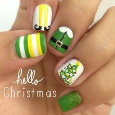 Christmas Tree And Elf Nail Art