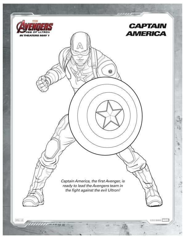 Marvel Avengers Captain America Coloring Page Marvel