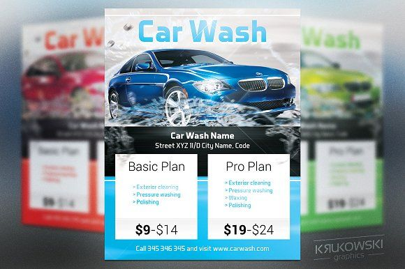 Car Wash Flyer Car Wash Font Logo and Catalog Design Car Wash Flyer