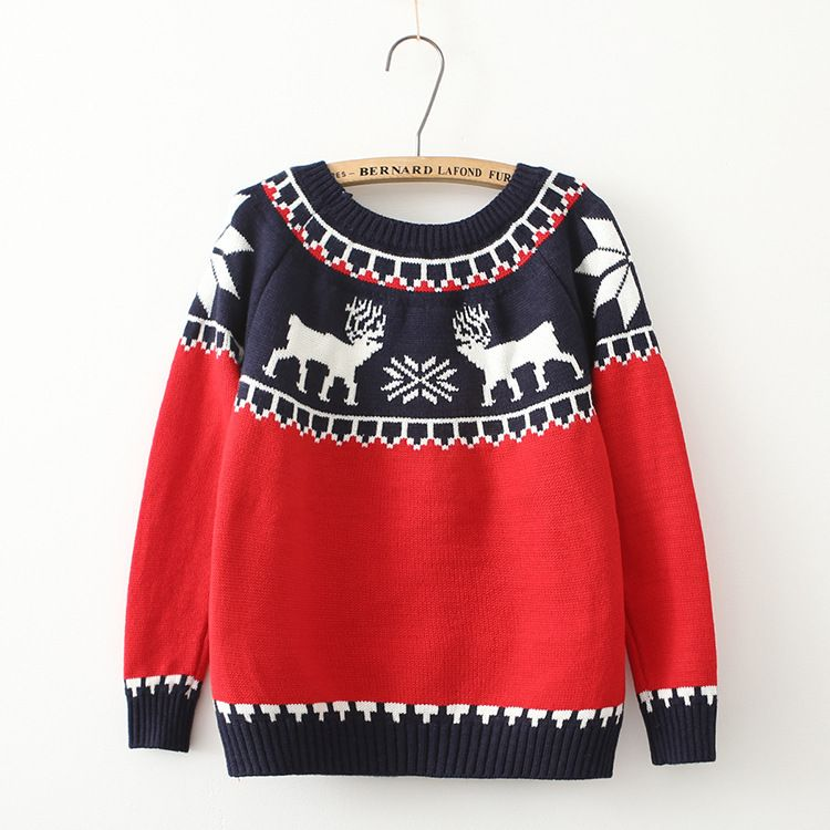 Matching Christmas Sweaters Womens Snow Deer Print Christmas