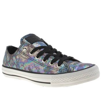 e1d964b96334c8 Womens Black   Purple Converse All Star Oil Slick Leather Ox Trainers