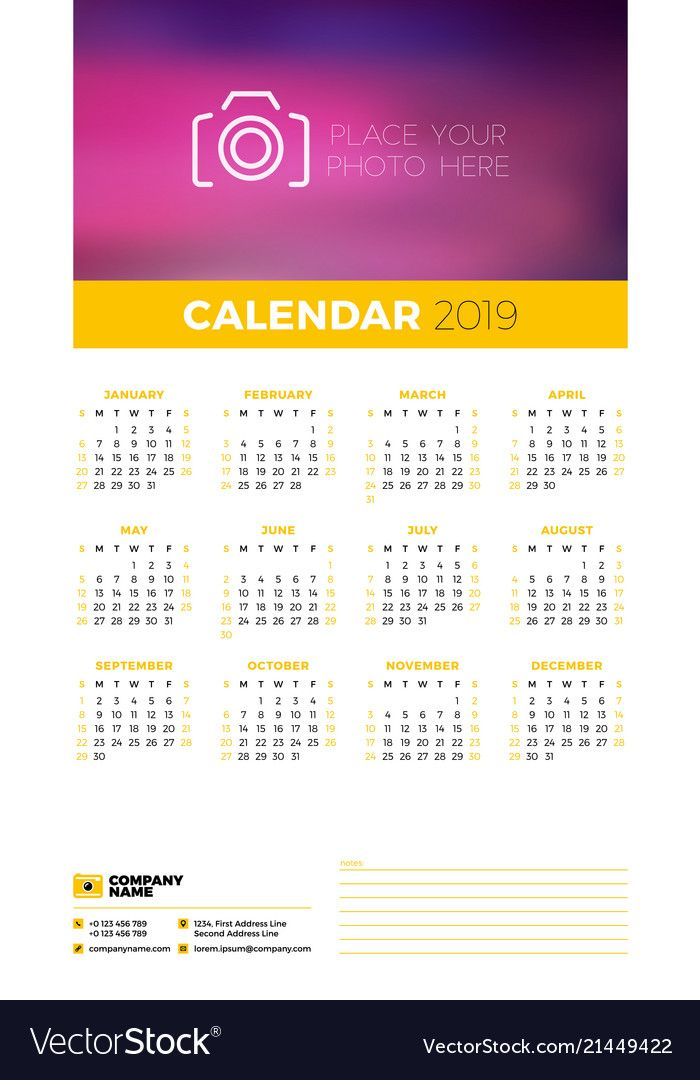 Wall calendar poster template for 2019 year Week starts on Sunday