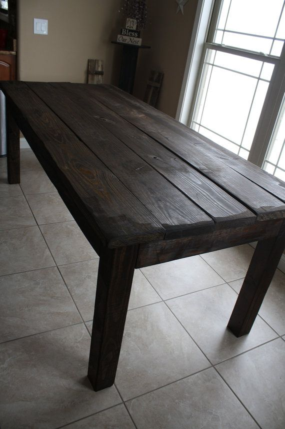 Unique Primtiques Rustic Dark Walnut Stained Farm House Country Kitchen Table Custom Sizes Colors Upon Request