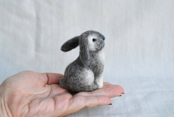 Bunny....Felt toy Handmade Doll Soft Sculpture OOAK Needle Felted Wool Animals New... I will make this item for your order #feltedwoolanimals
