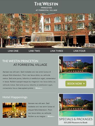 Hotel Newsletter Email Design  The Westin Princeton At Forrestal