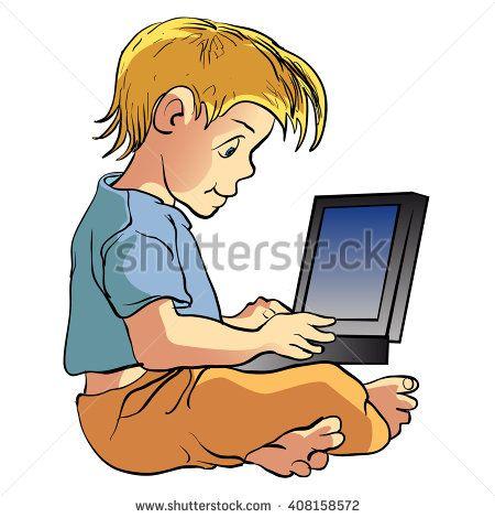 Boy using laptop cartoon illustration