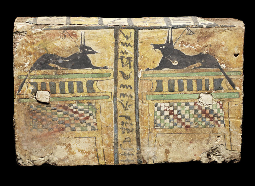 An Egyptian gesso painted wood panel. Ptolemaic Period, circa 305-30B.C.
