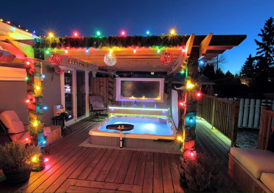 A great winter hot tub installation