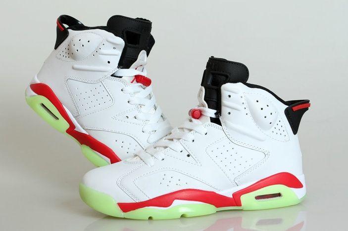 Nouvelle Nike Air Jordan 6 Retro Chaussures De Basket-ball Pour Homme Vert  Blanc Rouge