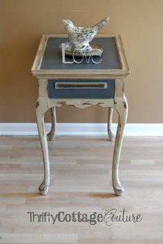 Painted with Annie Sloan Chalk Paint® paint in Country Grey & Old Violet - Thrifty Cottage Couture