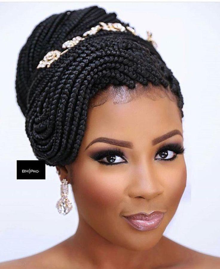 Pin By Cheryl Davy On Make Up Bridal Hairstyles With Braids African Braids Hairstyles African Hairstyles