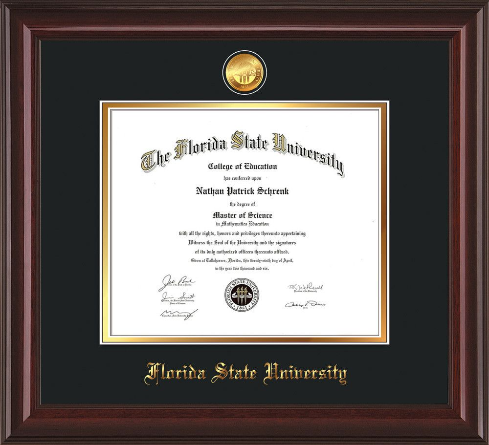 Florida State University Diploma Frame - Mahogany Lacquer - w/24k ...