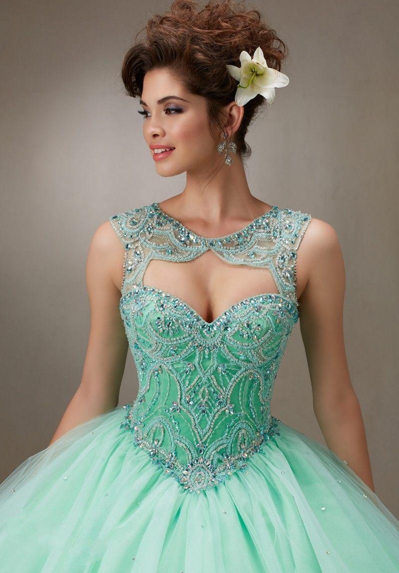 Vestidos 15 verde menta