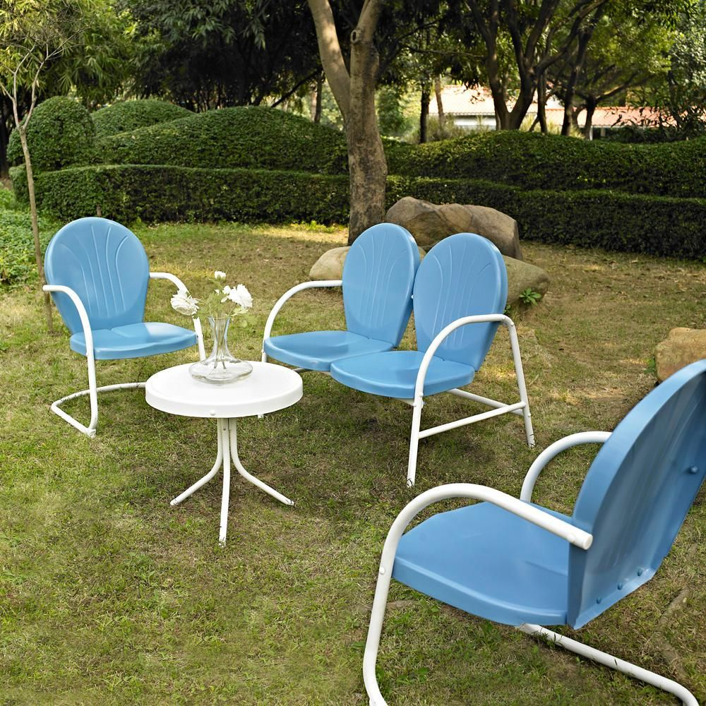 Crosley Griffith Blue 4 Piece Metal Patio Conversation Set