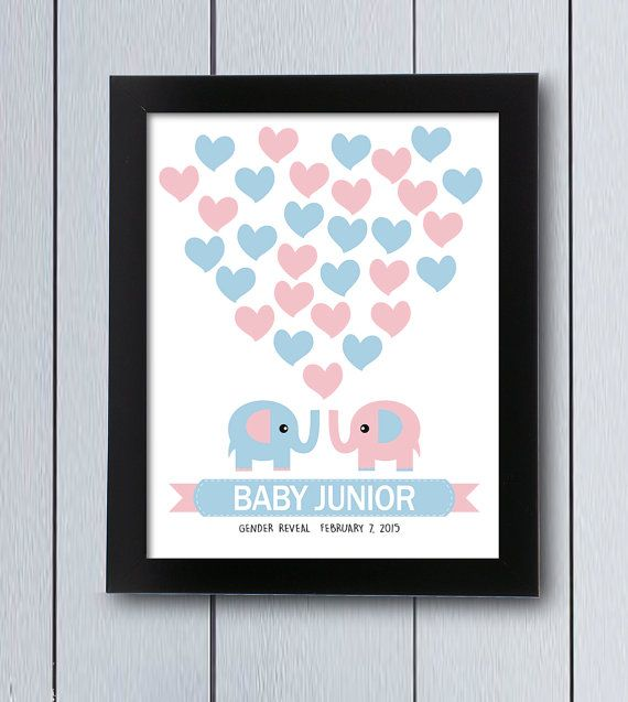 Cuadro de firmas de buhos rosa y azul para revelar el sexo del bebe. Cuadro de firmas, ideal para juegos de descubrir si el bebé será niño o niña,