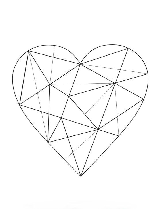 Geometric Heart Art Print Minimalist Art Black And White Art Abstract Art Print Scandinavian Art Giclee Print Wall Art Poster Periodo Geometrico Arte Blanco Arte Minimalista