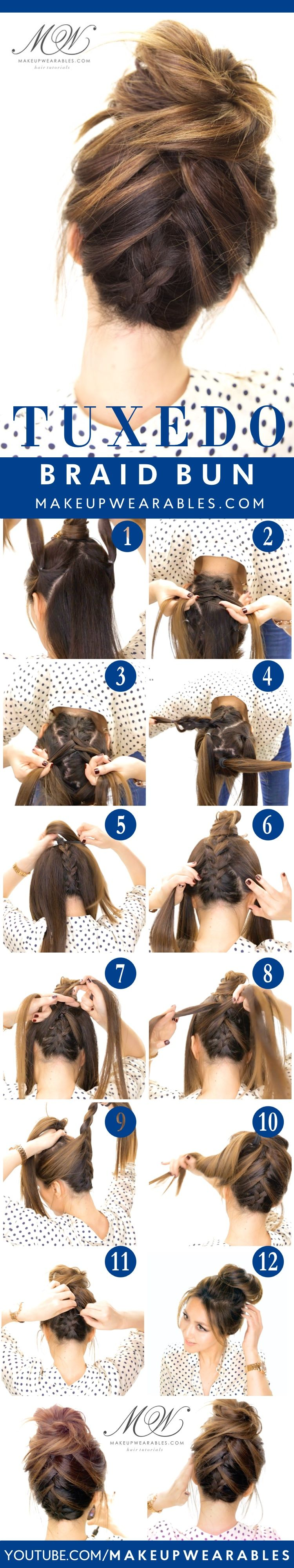 Amazing tuxedo braided bun cute spring updo hairstyles tips tuxedo braid bun tutorial 5 messy updos for long hair check it out at baditri Gallery