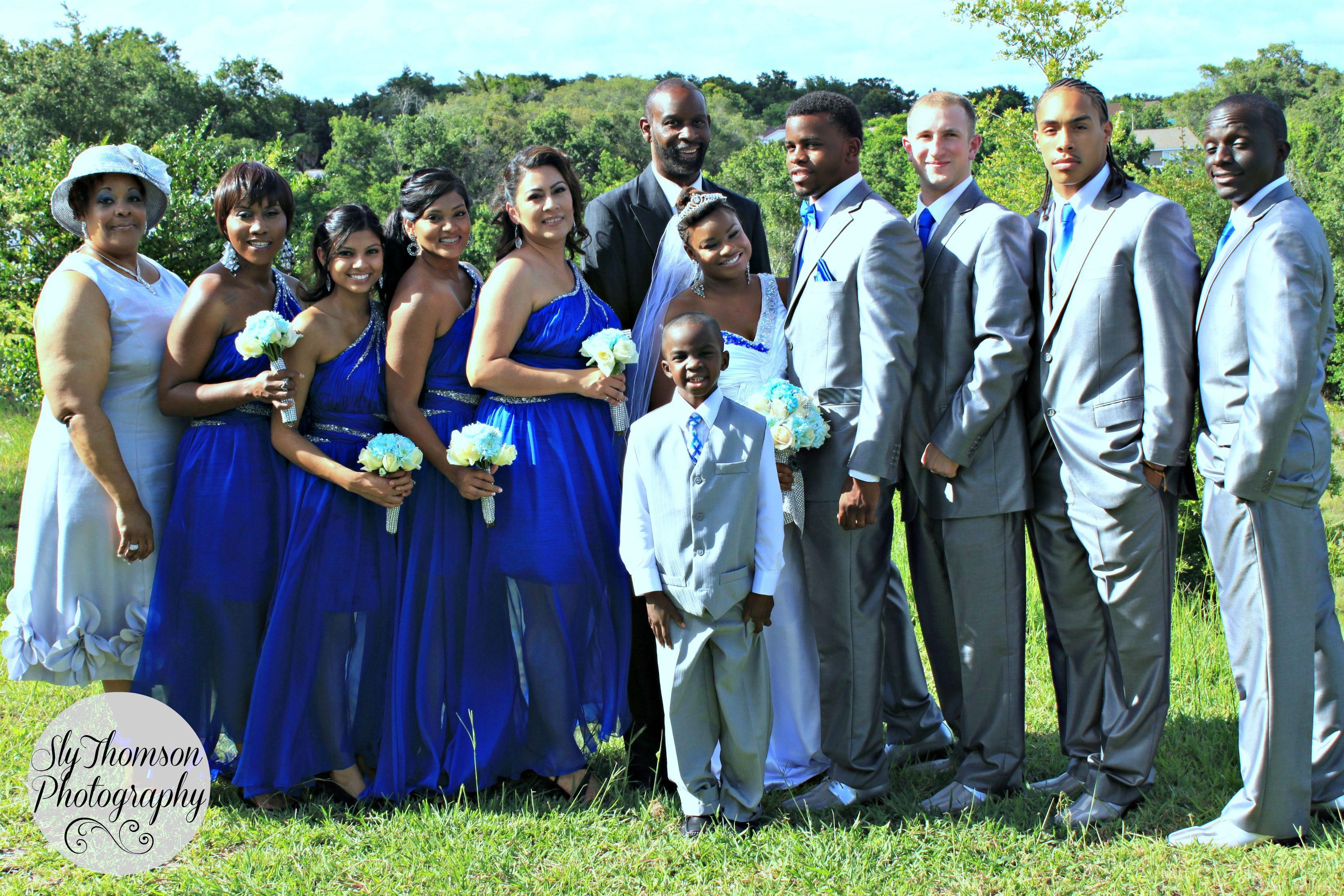 summer wedding bridal party in Orlando. grey white, silver and royal ...