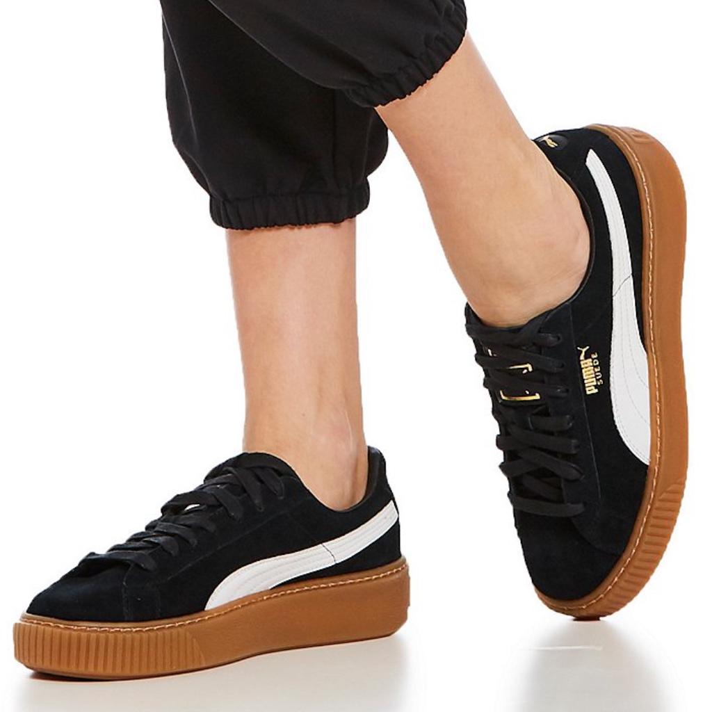Puma Shoes | Puma Suede Platform Core Black White Gum Bottom