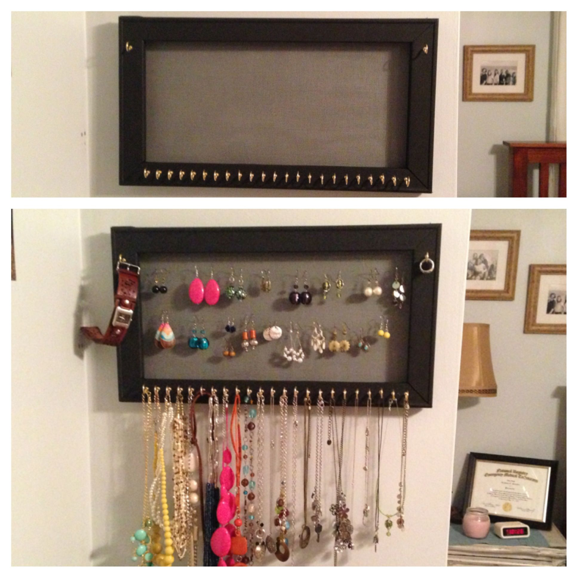 Jewelry organizer I made A wooden frame painted whatever color you