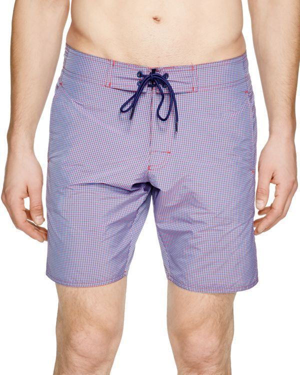 Zachary Prell St. Giorgio Gingham Swim Trunks