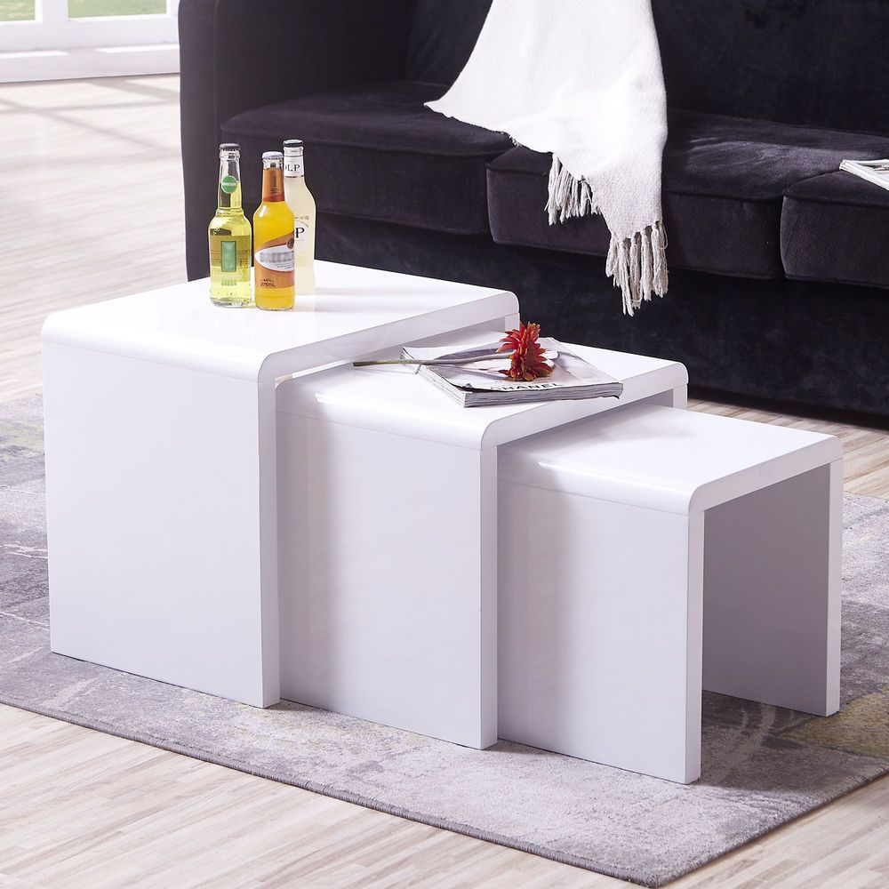Nest Of 3 High Gloss White Nested Modern Coffee Tables Side Table Living Room 93 90 0 Bids End Date Living Room Side Table Living Room Table Living Table [ 1000 x 1000 Pixel ]