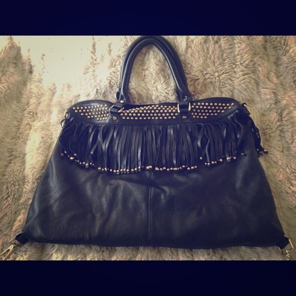 Black Faux Leather Handbag Gold Studs Fringe Gently Used With Standard Interior Pockets And