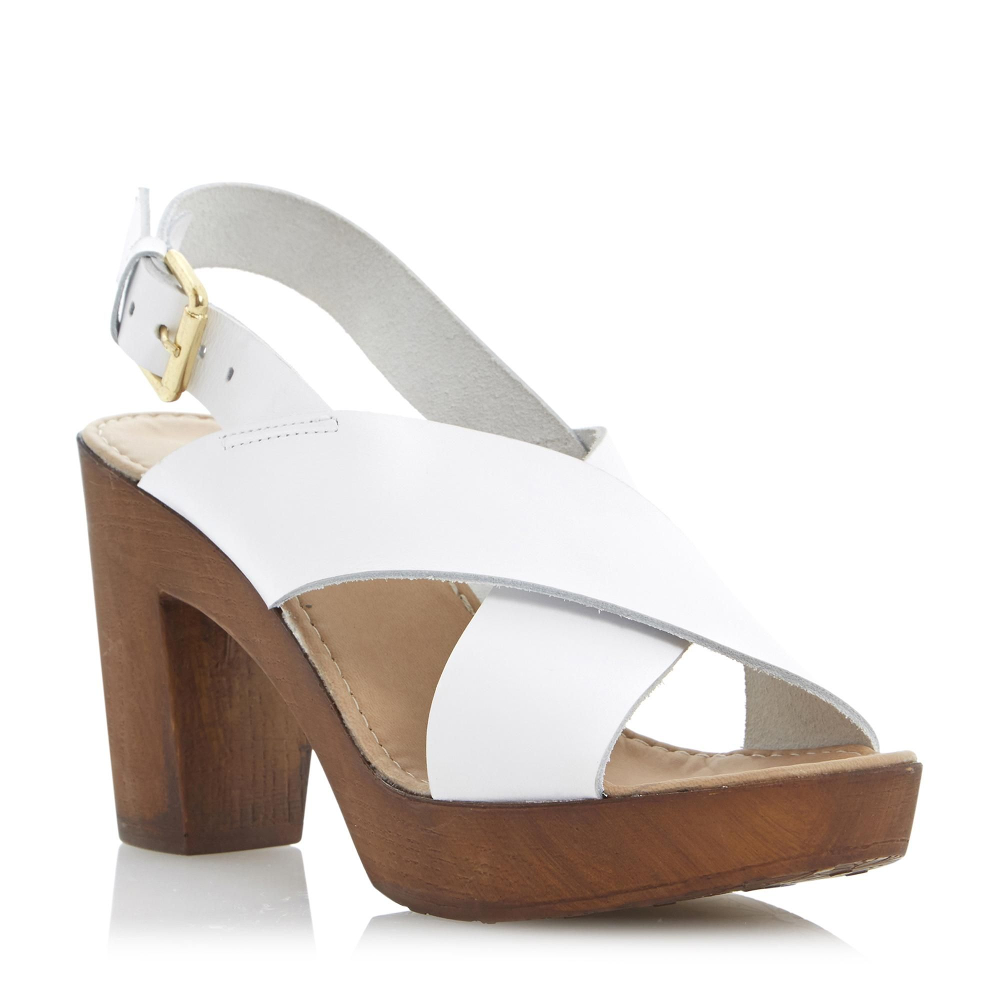 59950fdb8f0 DUNE LADIES FRAGGEL - Leather Wooden Clog Effect Heeled Sandal - white