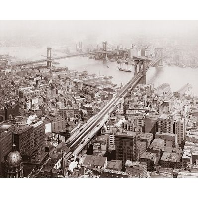 ''Brooklyn and Manhattan Bridges 1916'' by McMahan Photo Archive Architecture Art Print