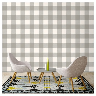 Buffalo Plaid Peel Stick Wallpaper Gray Threshold French Country Living Room Peel And Stick Wallpaper Country Living Room