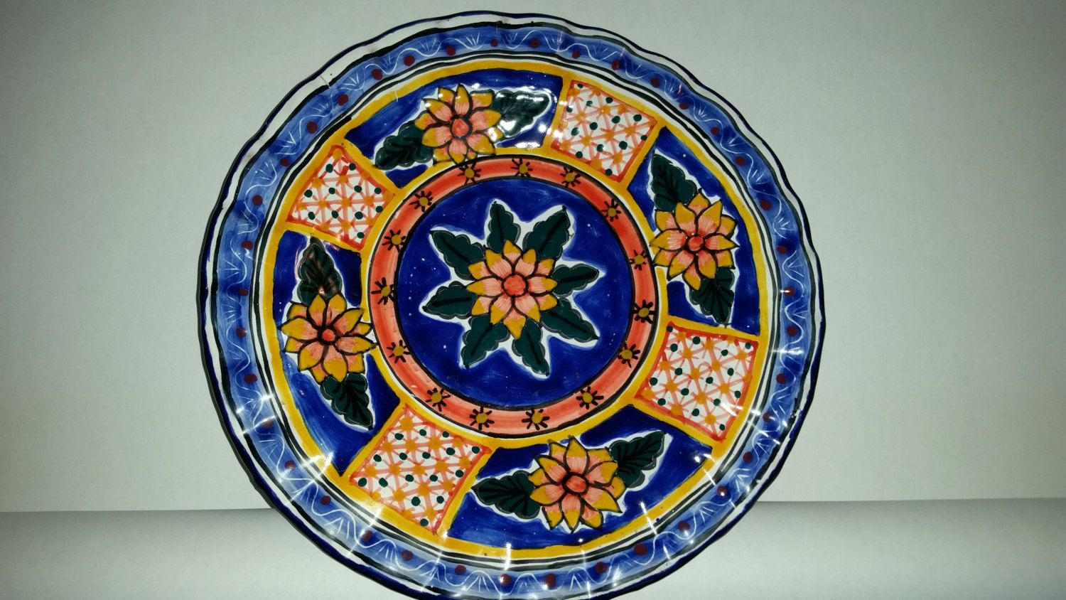 Talavera Plate Vintage Mexican Ceramic Decorative Wall Hanging Platter Floral Design Made in Mexico 10  & Talavera Plate Vintage Mexican Ceramic Decorative Wall Hanging ...