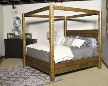 wesling - rustic brown - king poster canopy bed | products