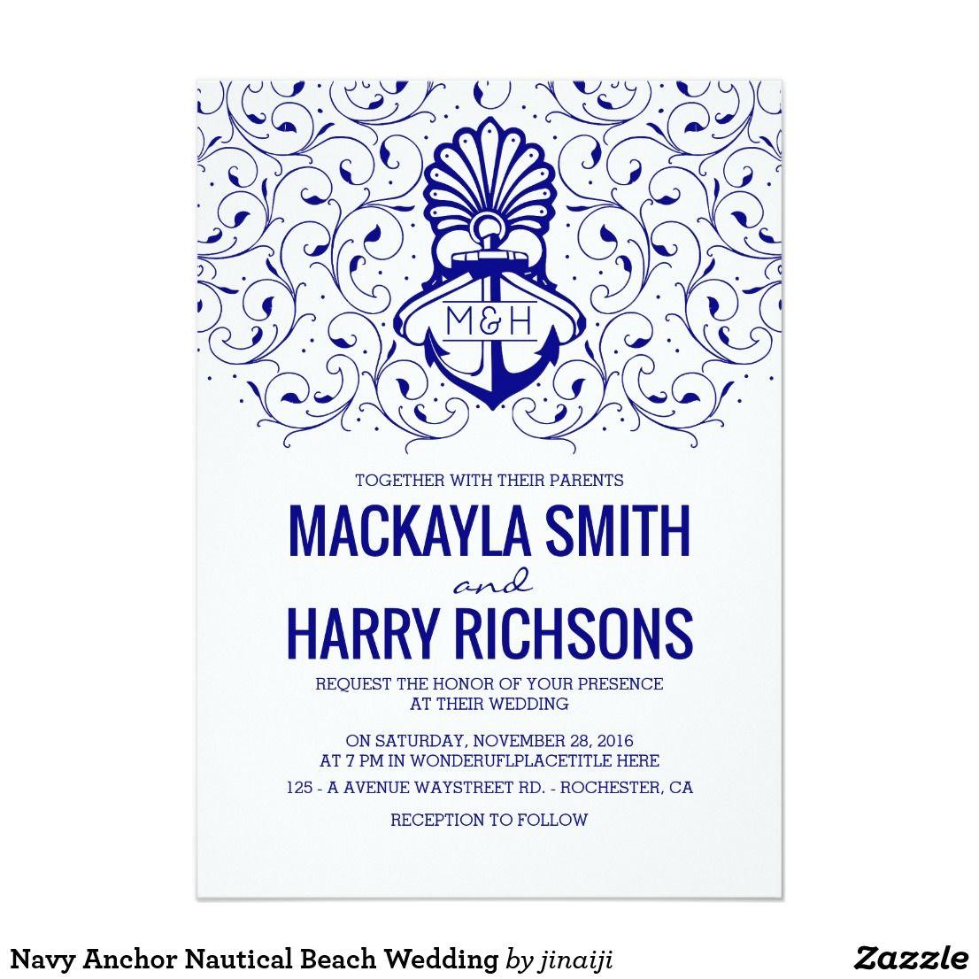 Navy Anchor Nautical Beach Wedding Card | Navy anchor, Wedding card ...