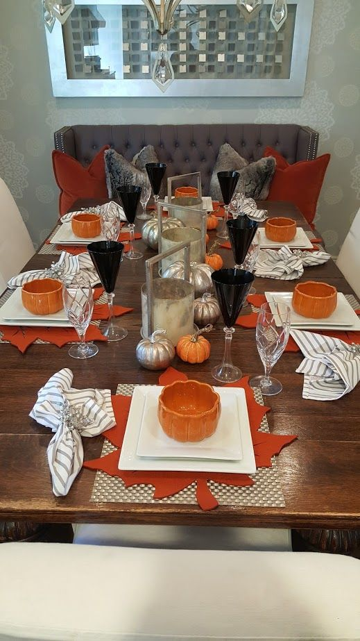 Contemporary Fall Table Setting Using Orange White And Grey Fall