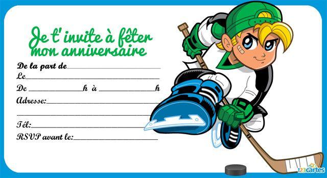 Exceptionnel invitation anniversaire hockey sur glace 3 | Gâteau fête des gars  HP46