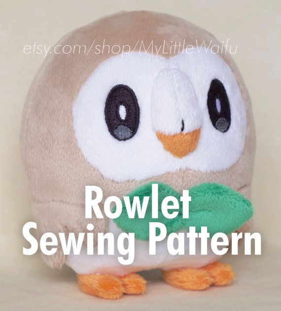 DIY Rowlet Plush Sewing Pattern + Eye Embroidery Files | Easy-ish ...